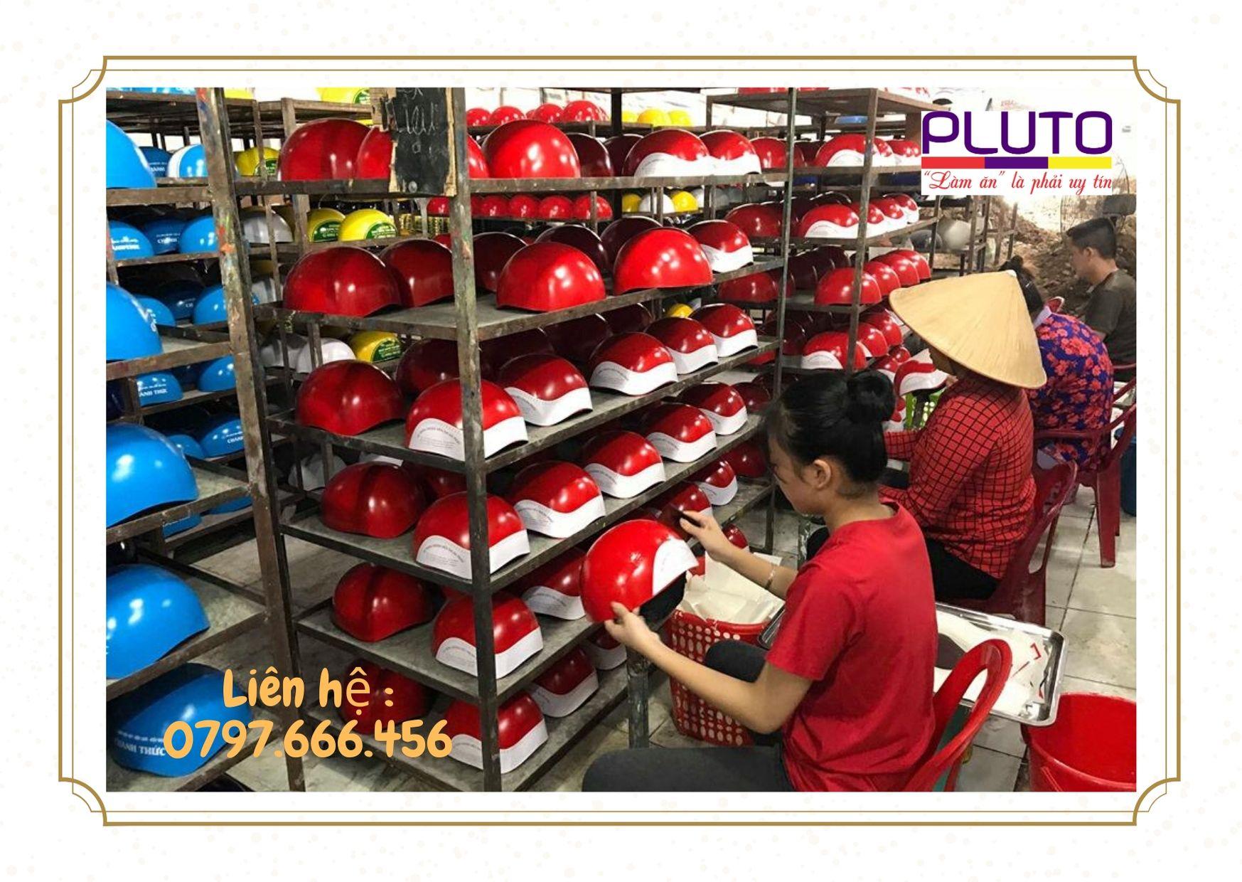 Nón bảo hiểm   xưởng sản xuất nón in logo theo yêu cầu