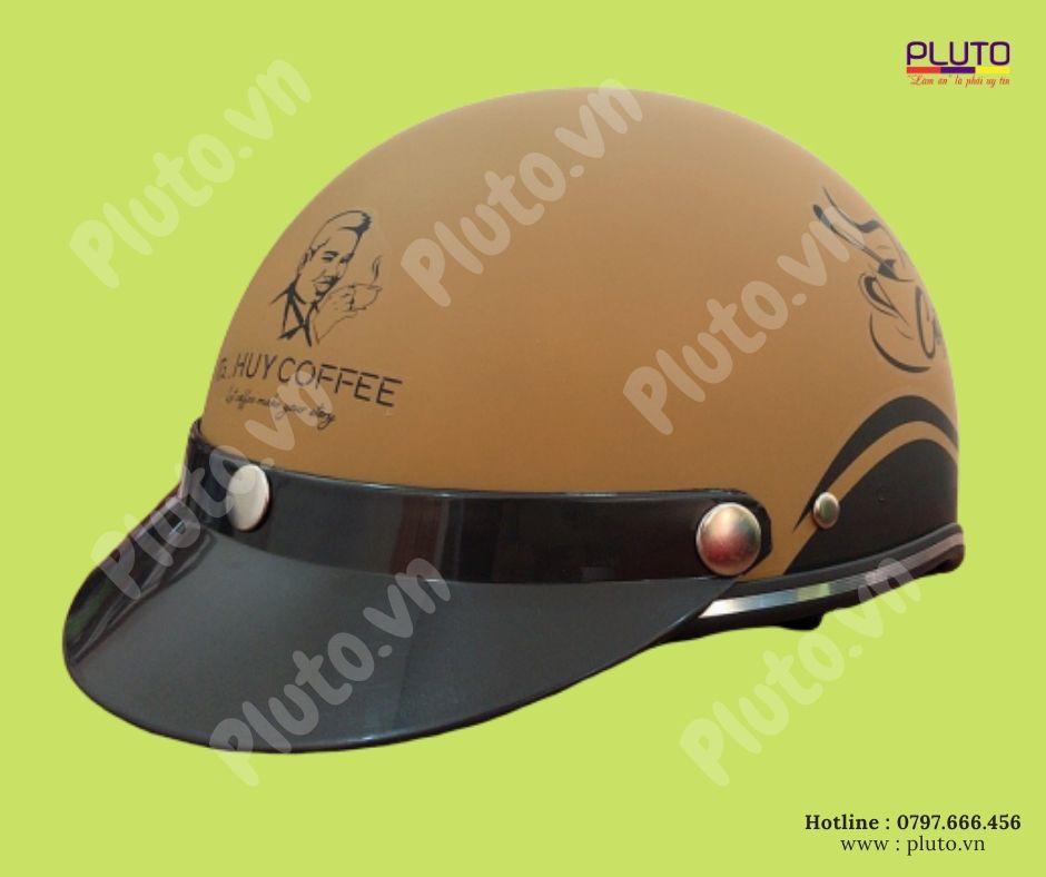mũ bảo hiểm quảng cáo dành cho quán cafe