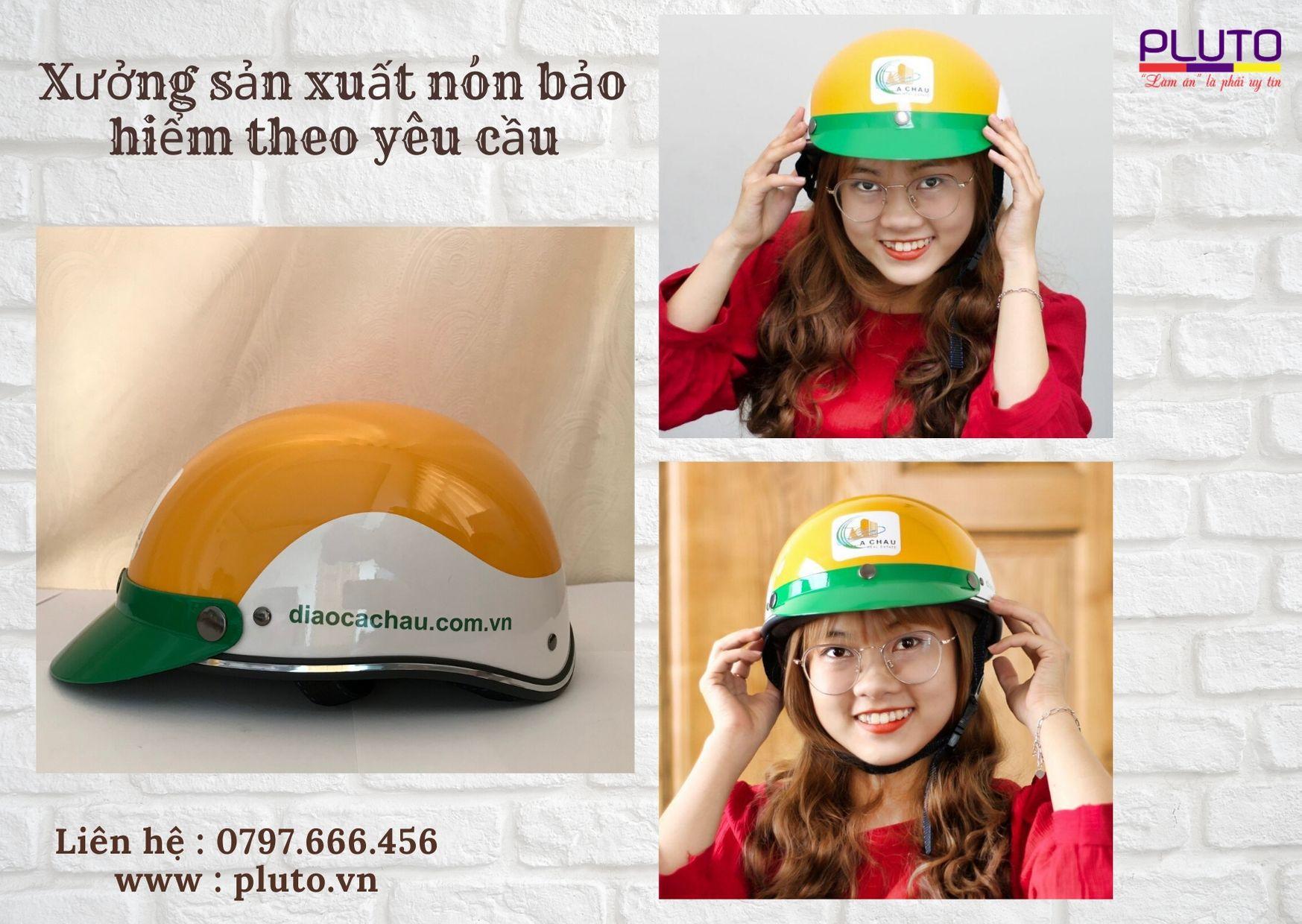 làm nón bảo hiểm in logo